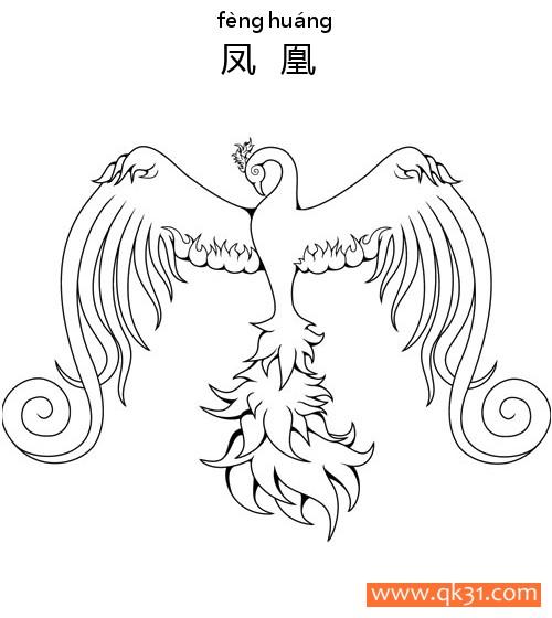 凤凰-phoenix|简笔画图片大全|素描|涂鸦|涂颜色